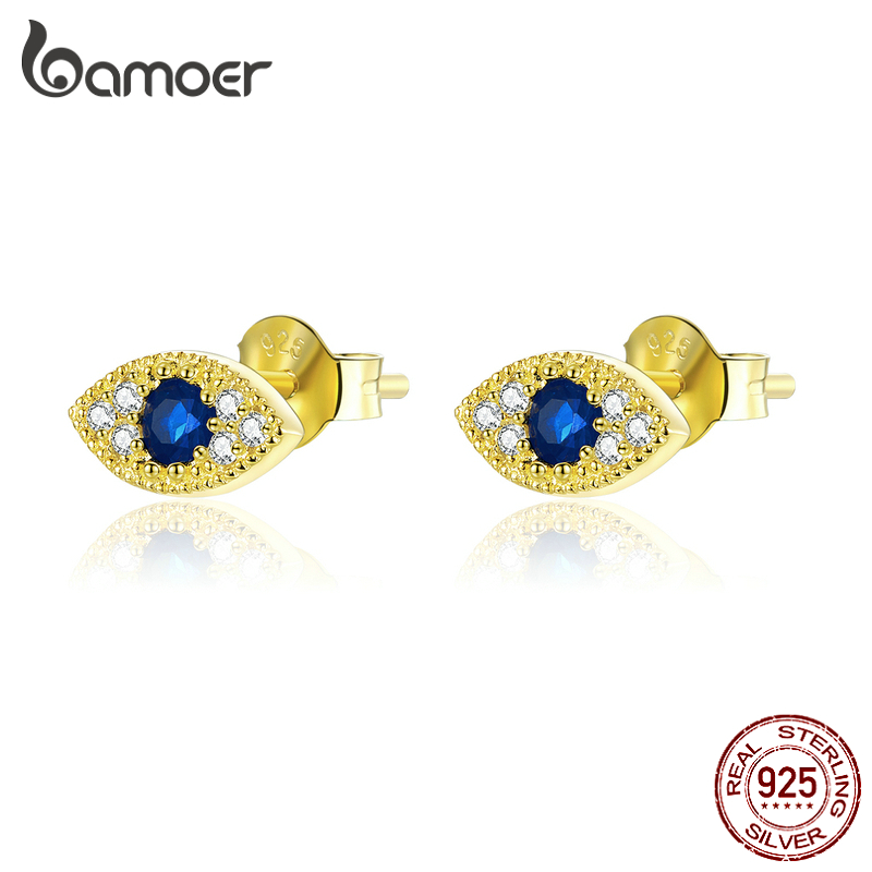 Bamoer 925 Sterling Silver Eye Blue Stud Earrings For Women Lucky Guardian Jewelry Gold Color Korean Style Jewelry SCE805
