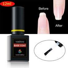 VERONNI Base Coat Primer Gel 12ml Fast Dry Varnish Soak Off UV LED Gel Nail Polish Base Coat No Wipe Top Color Gel Polish