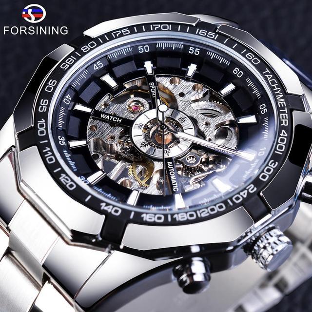 Forsining reloj deportivo informal para hombre, resistente al agua, de acero inoxidable y plata 2017, militar, Reloj de pulsera mecánico