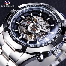 Часы наручные Forsining Мужские механические, водонепроницаемые спортивные брендовые роскошные в стиле милитари, с браслетом из нержавеющей стали, серебро 2017 пробы