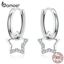 Bamoer массивные Свадебные ювелирные изделия, серьги с прозрачными фианитами со звездой, очаровательные женские серебряные ювелирные изделия...
