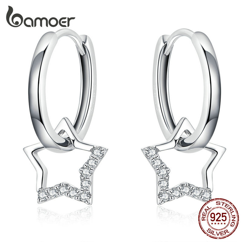 bamoer Statement Wedding Jewelry Clear CZ Earrings with Star Charm Women Genuine 925 Sterling Silver Fine Jewelry BSE276(China)