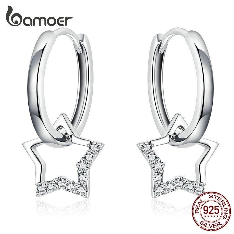bamoer Statement Wedding Jewelry Clear CZ Earrings with Star Charm Women Genuine 925 Sterling Silver Fine Jewelry BSE276