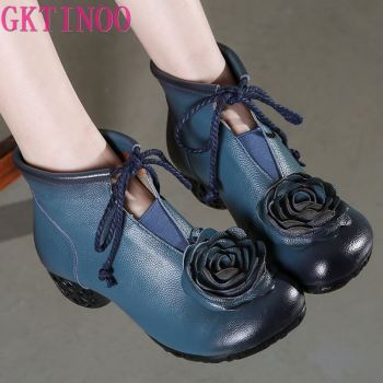 GKTINOO Winter Shoes Woman Cow Leather Flower High Heels Ankle Boots Genuine Handmade Retro Women - discount item  50% OFF Women's Shoes