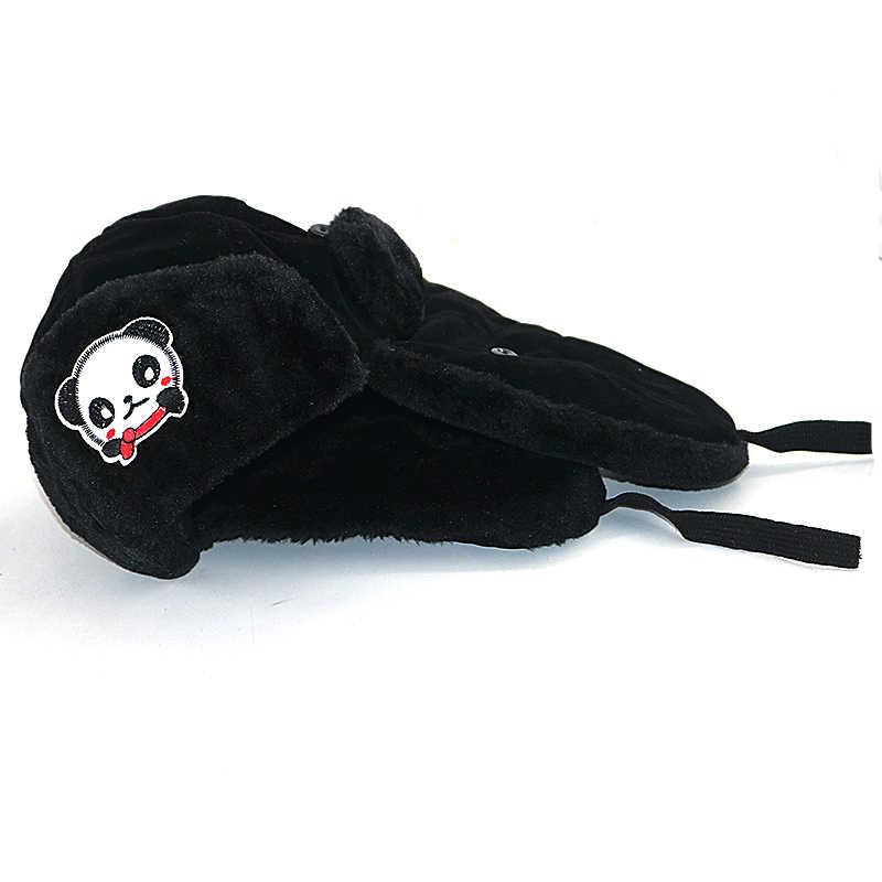 子供爆撃機帽子厚い毛皮の夕食暖かい冬帽子子供のためのパンダ刺繍綿スキーのための爆撃機キャップ女の子