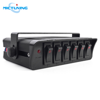 MICTUNING 6 Gang Rocker Switch Box Universal for Cars Vehicles Boats 12 24V Waterproof 20A Switch Panel with LED Light Indicator