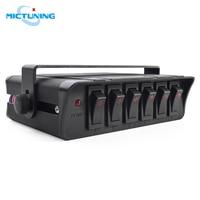 Mictuning 6 gang rocker switch box universal para carros veículos barcos 12-24 v impermeável 20a switch painel com indicador de luz led