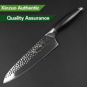 Image 5 - XINZUO coltello da cuoco da 8 coltelli da cucina in acciaio rivestito a tre strati manico G10 coltello da Barbecue Super affilato coltello da cucina