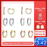 WOSTU Authentic 925 Sterling Silver 6 Color Small Circle Hoop Earrings For Women Wedding Fashion Noble Jewelry Gift FIE498