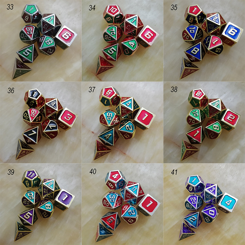 dnd dice metal rpg set polyhedral dungeons and dragon d20 10 8 green table games Zinc alloy Blending green digital dice pattern