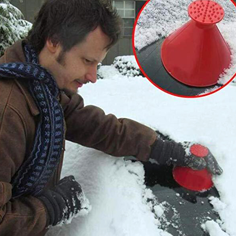 Generous Car Ice Scraper Auto Car Magic Window Windshield Shaped Funnel Snow Remover Deicer Cone Deicing Tool Scraping One Round High Safety