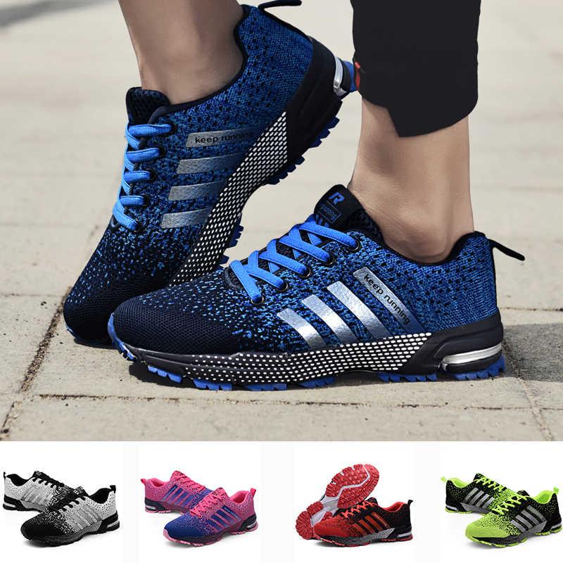 Örgü gündelik erkek ayakkabısı artı boyutu 48 kadın Sneakers 35 ayakkabı kadın hava Mesh rahat hava yastığı ayakkabı erkekler Drop shipping