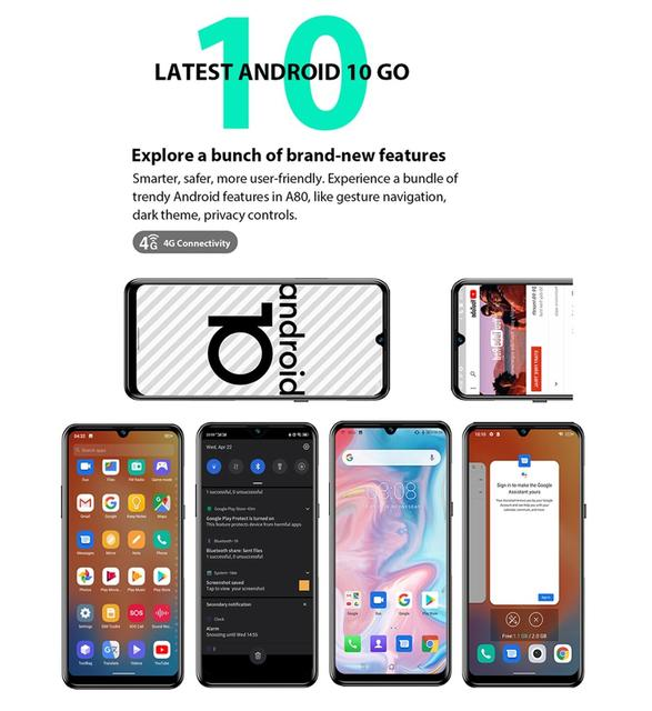 """Blackview A80 Quad Rear Camera Android 10 Phone 6.2"""" Waterdrop Screen 2GB+16GB MTK6737 Quad Core 4G Mobile Phone 4200mAh Battery 4"""