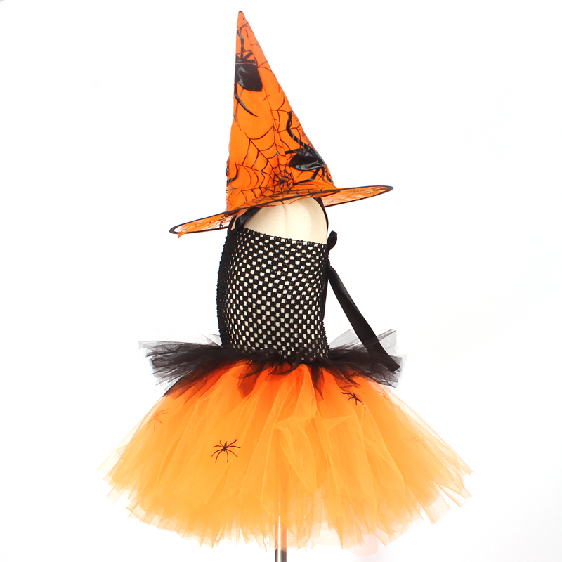 Spider Girls Witch Tutu Dress with Hat Black Purple Children Halloween Carnival Cosplay Witch Costume Kids Party Fancy Dresses (11)