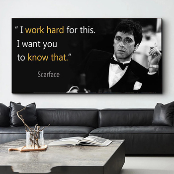 Scarface-pósteres e impresiones de frases de película, pintura de lienzo de retrato...