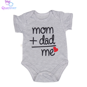 Newborn Baby Bodysuit Summer Clothes Boys Girls Jumpsuit Letter Short Sleeve Cotton Clothes Infant Outfits 3-6M for Kids Gifts(China)