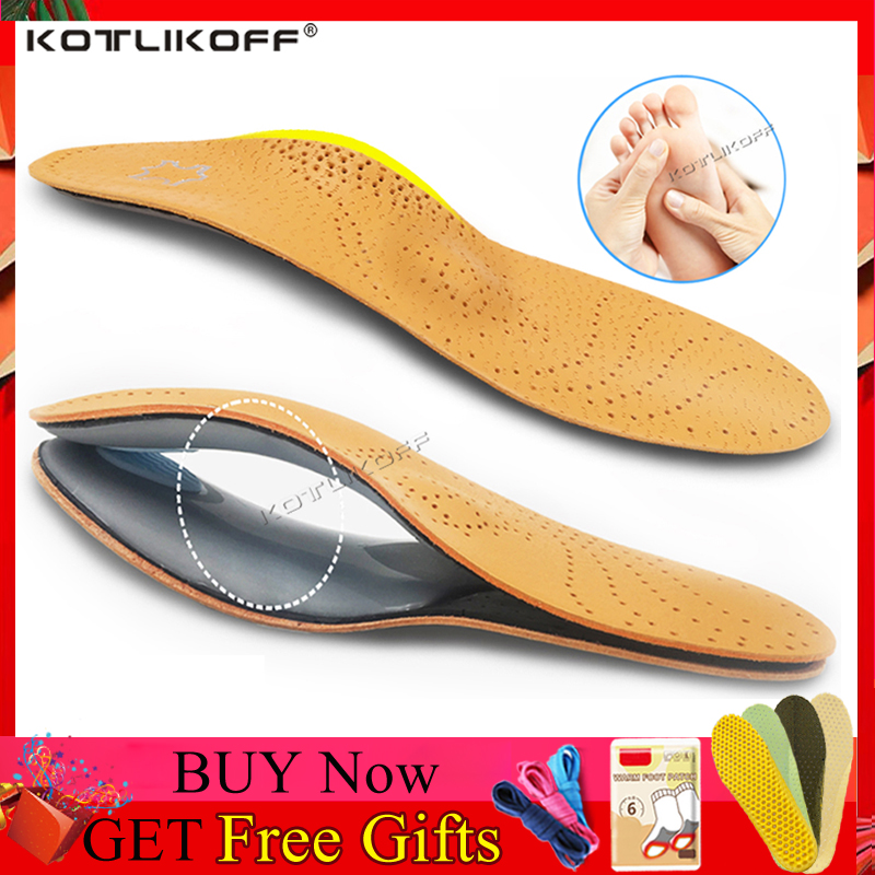 KOTLIKOFF 3D Premium Healthy Leather Orthotic Insole For Flatfoot High Arch Support Orthopedic Insole Insoles Men Women Shoes