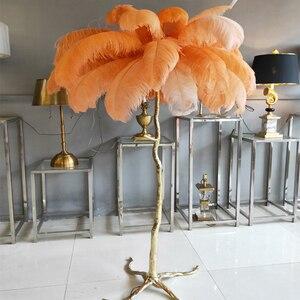 Image 1 - אמריקאי מנורת רצפת יוקרה נחושת נוצת סניף רצפת מנורת מלון יופי מנורת זהב סלון עומד מנורת H160xD120cm