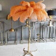 อเมริกันโคมไฟชั้นหรูหราทองแดง Feather Branch โคมไฟโรงแรม Beauty Lamp GOLD ห้องนั่งเล่นโคมไฟยืน H160xD120cm
