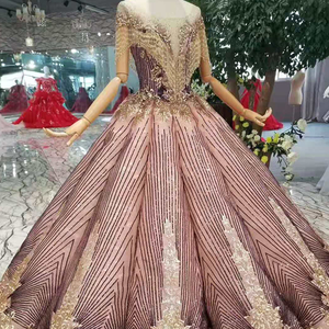 Image 4 - LS11089 blush color women occasion dress unique patter o neck ball sparkly party dress curve shape with golden lace floor length