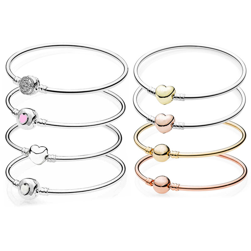 Belle Enchanted Rose Wonderful Heart Ball Suitable Clasp 925 Sterling Silver Bangle Fit Fine Bracelet Bead Charm DIY Jewelry