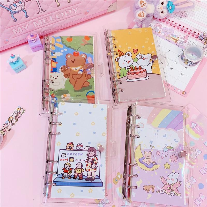 1PC Kawaii Rainbow Bear Planner Notebook Cherry A6 Spiral Notebook Planner Organizer Binder Diary Bullet Journal Notebook
