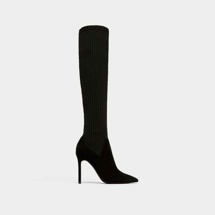 Kadın ayakkabısı Çorap Overknee Çizmeler Ile Keskin Örgü Elastik Çizmeler Yüksek Kadın Botları