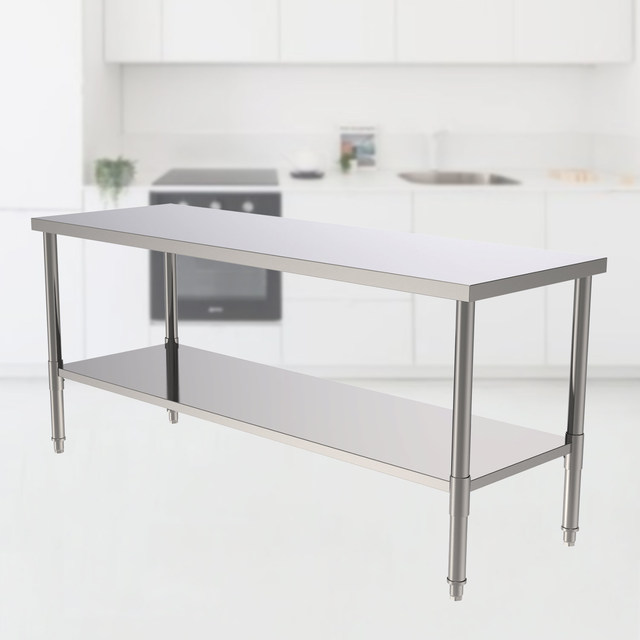"""72"""" Stainless Steel Galvanized Work Table 5"""