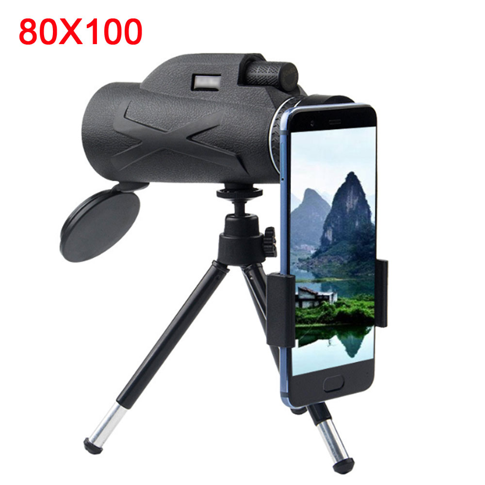 Professional Telescope  80x100 HD Night Vision Monocular Zoom Optical Spyglass Monocle For Sniper Hunting Rifle Spotting Scope