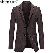 Shenrun erkekler Blazers ceket sonbahar kış ince yeni moda çift yün takım elbise ceketleri ofis iş iş örgün Casual Blazer