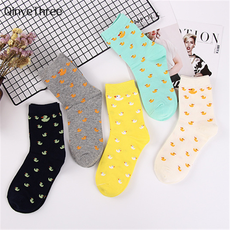 Cartoon Cute Animal Duck Pattened Socks Fashion Cute Women Funny Socks Female Casual Cotton Socks Unisex Harajuku Sox For Couple