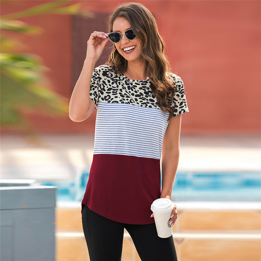 Leopard Patchwork T-shirt Women Slim Fit Short Sleeve For Summer 2020 New Tops Tee Shirts Women Clothes Casual Female T Shirt