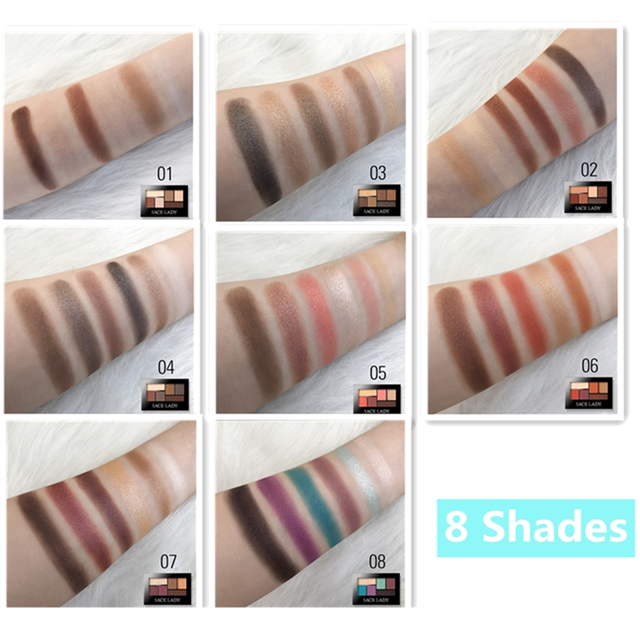 SACE LADY Matte Eyeshadow Palette MakeUp 8 Colors Glitter Eye Shadow With Brush Make Up Long Lasting Waterproof Natural Cosmetic 5