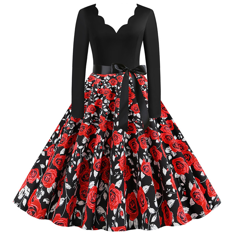 Women Long Sleeve Winter Vintage Dresses Sexy Black Music Note Print V-neck Rockabilly Pin up Party Dress Vestidos Plus size 667