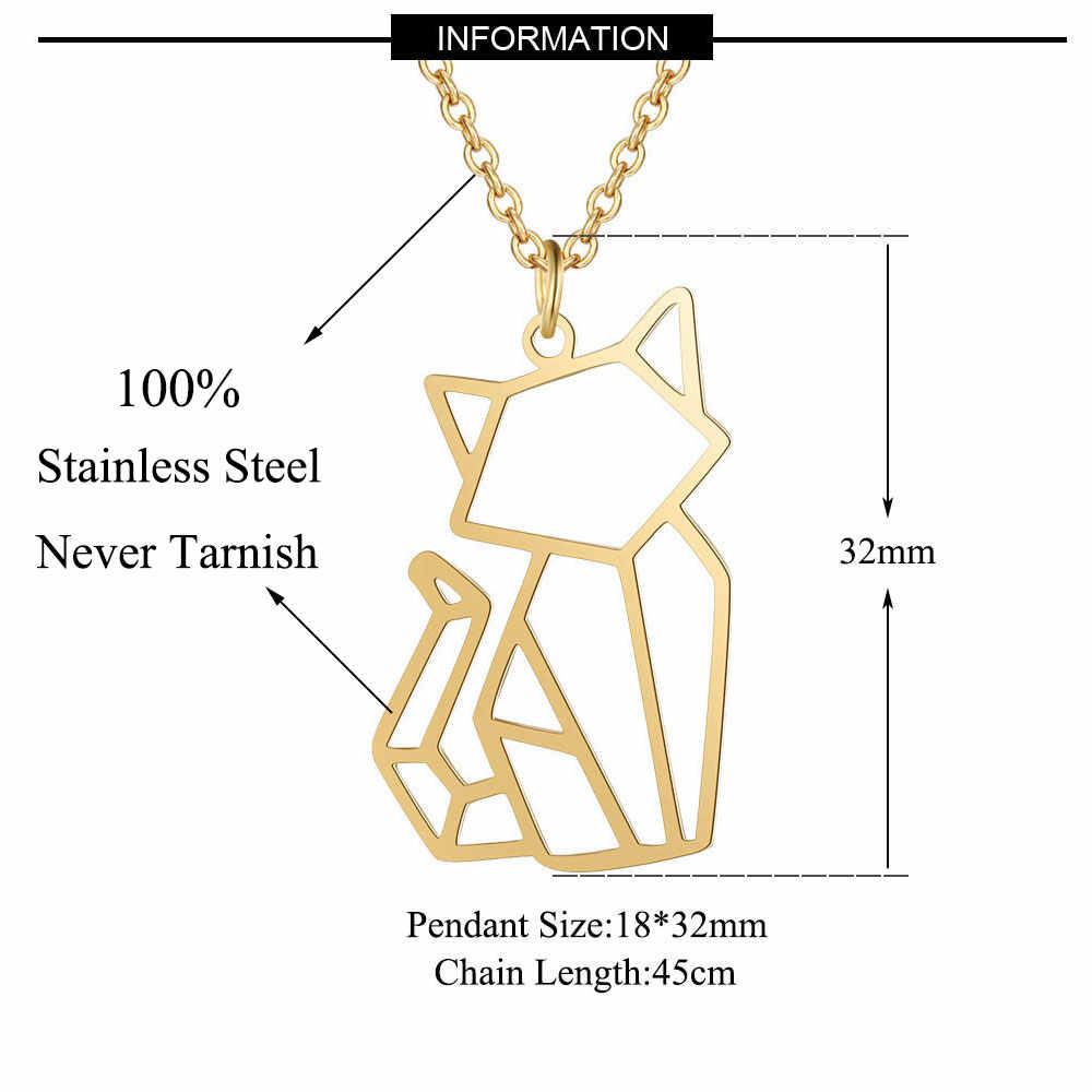 100% Stainless Steel Animal Cat Fashion Necklace for Women Unique Design Pendant Necklaces Wholesale Special Gift