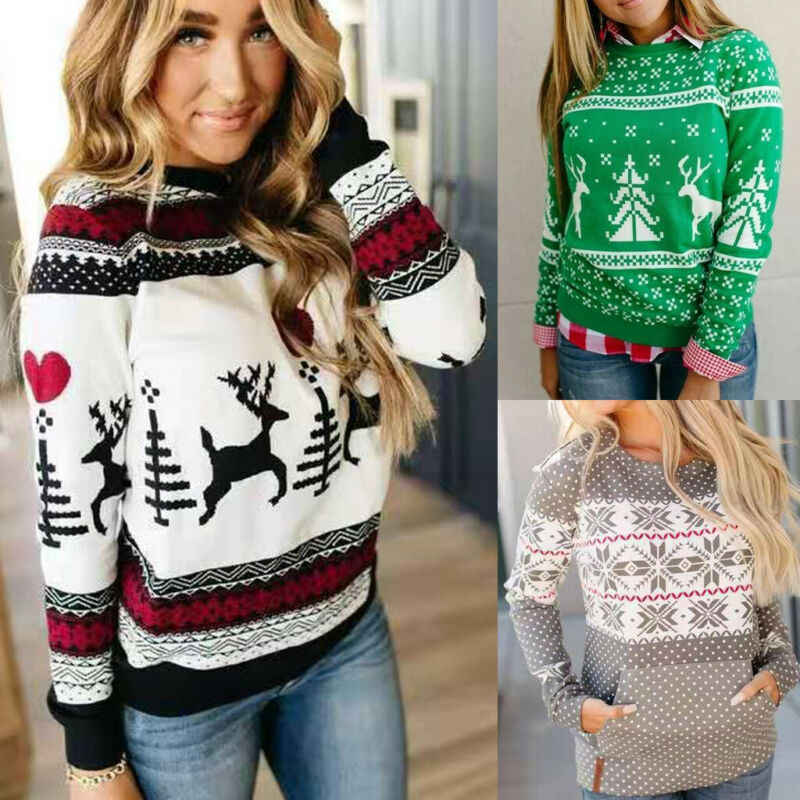 Women Lady Loose Christmas Knitted Pullover Jumper Sweater Long Sleeve Top Xmas Womens Clothes Gray Black Green Reindeer Print