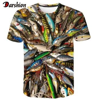 Letnia męska koszulka 3D drukowane ryby koszulki śmieszne koszulki topy koszulki męskie koszulki w stylu casual topy z okrągłym dekoltem letnie męskie koszulki Drop Ship tanie i dobre opinie darshion Krótki O-neck Tees 3d t-shirt mens Suknem spandex Poliester Na co dzień Drukuj