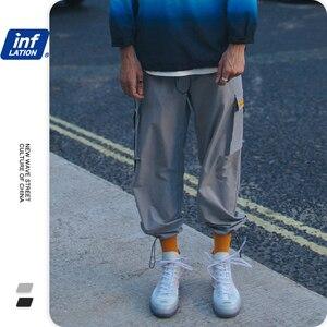 Image 2 - INFLATION 2020 Elastic Waist Patchwork Track Pants Mens Hip Hop Windbreaker Streetwear Trousers Harem Hip hop Swag Pants 8855W