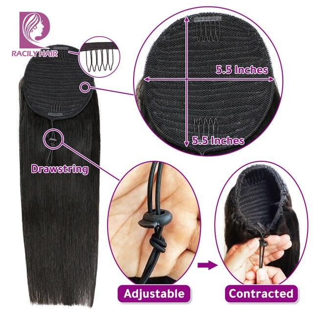 Волосы Racily прямые на шнурке конский хвост человеческие бразильские волосы на заколках для наращивания Remy Ombre обертывание вокруг конского х...