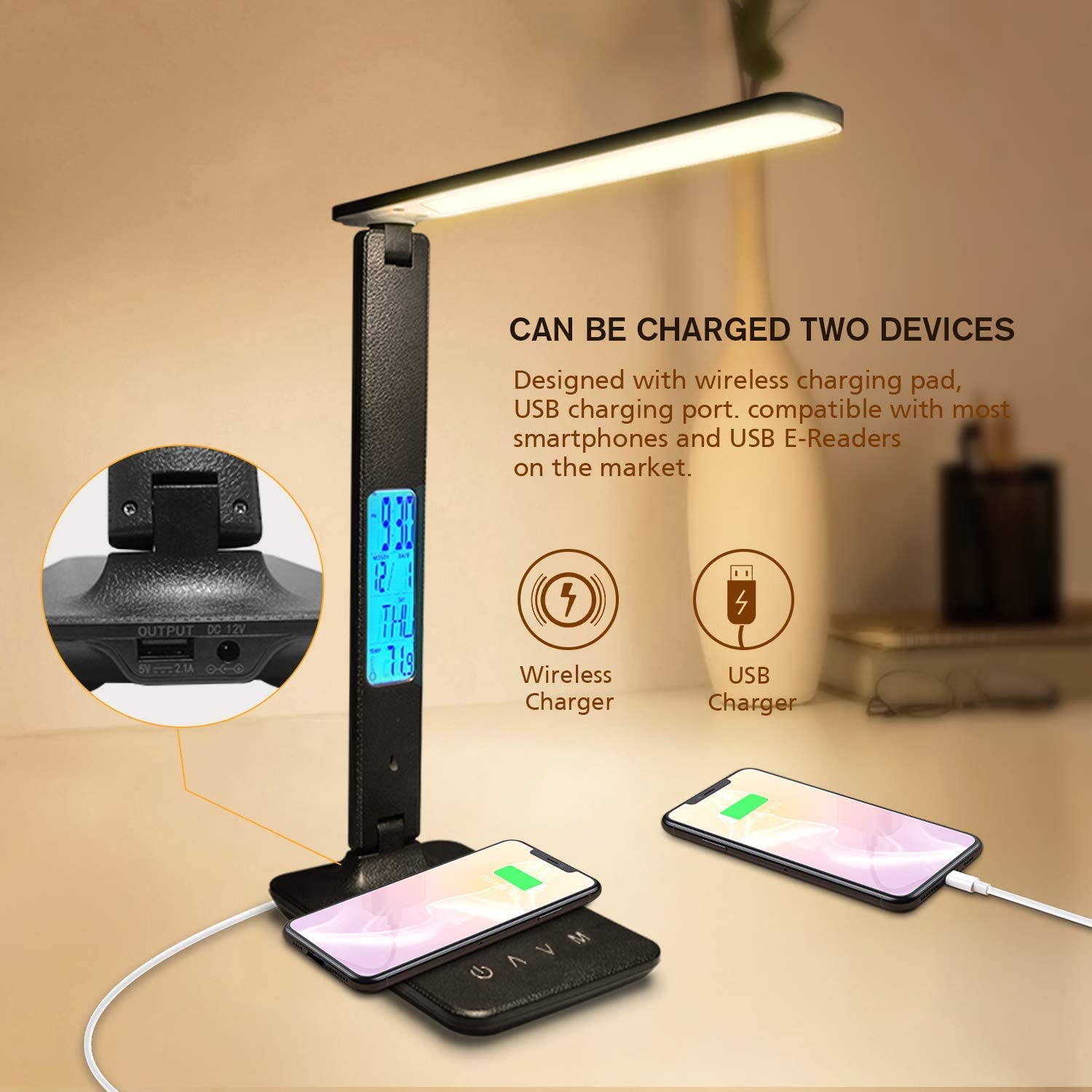 LAOPAO QI Wireless Charging LED Desk Lamp 10W With Calendar Temperature Alarm Clock Eye Protect Reading Light Table Lamp 2020 2