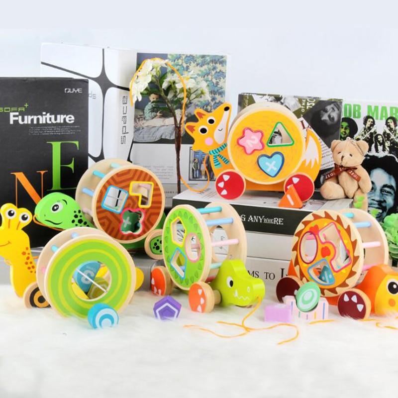 bonito dos desenhos animados animal bloco de construcao reboque do bebe cedo brinquedos educativos interessante ourico