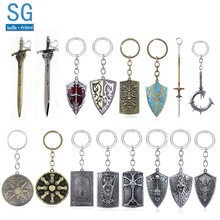 SG New Game Dark Souls 3 Artorias Sword Shield Keychains Abyss Walker Solaire Of Astora Sun Badge Keyring Men Cosplay Jewelry hot fashion dark souls solaire of astora sun pendant zinc alloy male necklace dark souls sunbros necklace sun necklace