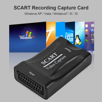Audio Video Adapter Recording Box SCART to USB2.0 Tuner Card Live Streaming Video Tuner Box Grabber Compatible