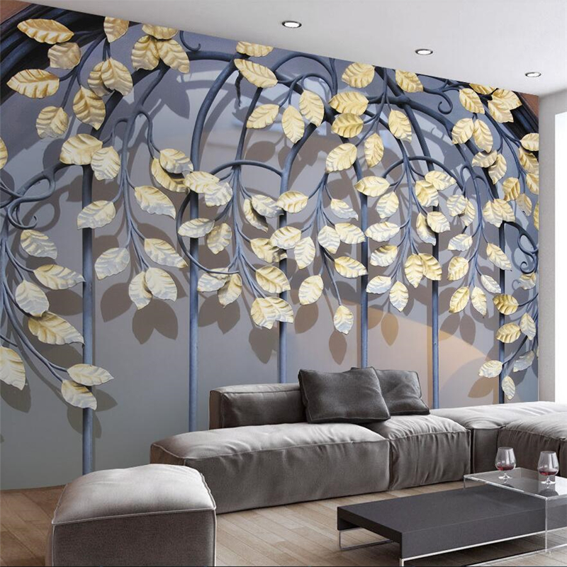 Beibehang-Custom-Retro-Iron-Golden-Leaf-3d-Modern-TV-Wall-Custom-Large-Mural-Green-Wallpaper-papel
