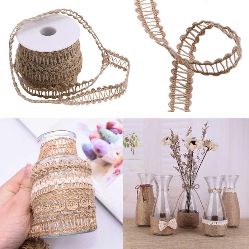 5m/rolle Natürlichen Vintage Hand Weben Sackleinen Jute Schnur Hanf Seil Geschenk Verpackung String Stricken Schnur DIY Home party Decor Liefert
