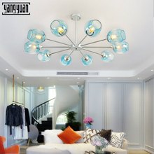 Postmodern personality  Art Creative magic beans glass pendant lamp Loft dining room living room bedroom Bar LED pendant lamp vintage magic beans round glass ball pendant lights lamp rope living bar hotel industrial led droplight loft dna suspension lamp