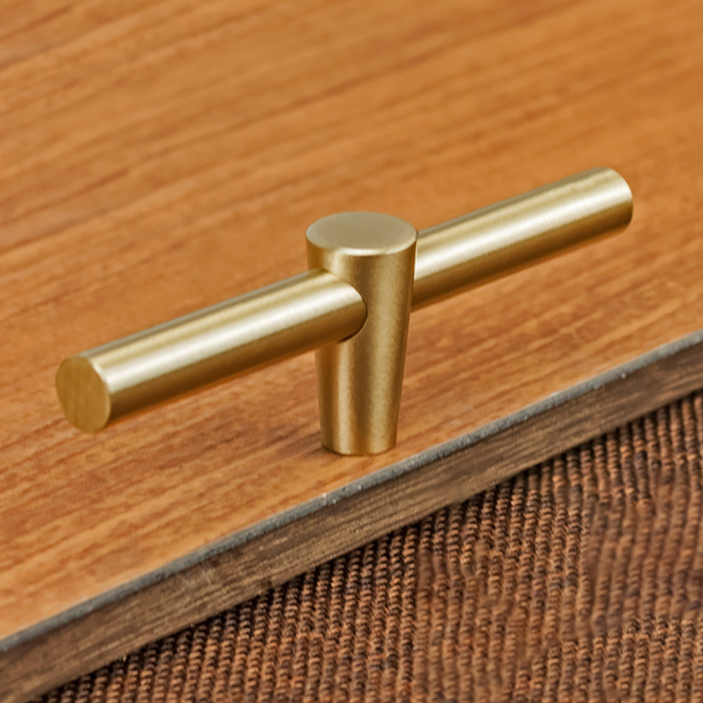 Door Pull Cupboard Handle Bedroom Pure Copper Bar...
