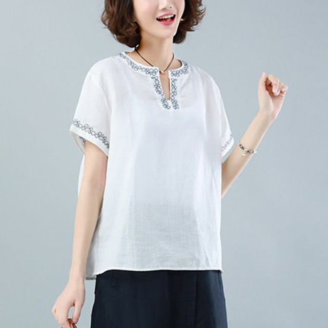 Oversized Cotton Linen Shirt Women Summer Loose Casual Tops New 2020 Simple Style Vintage Embroidery Woman Blouses Shirts P1316 6
