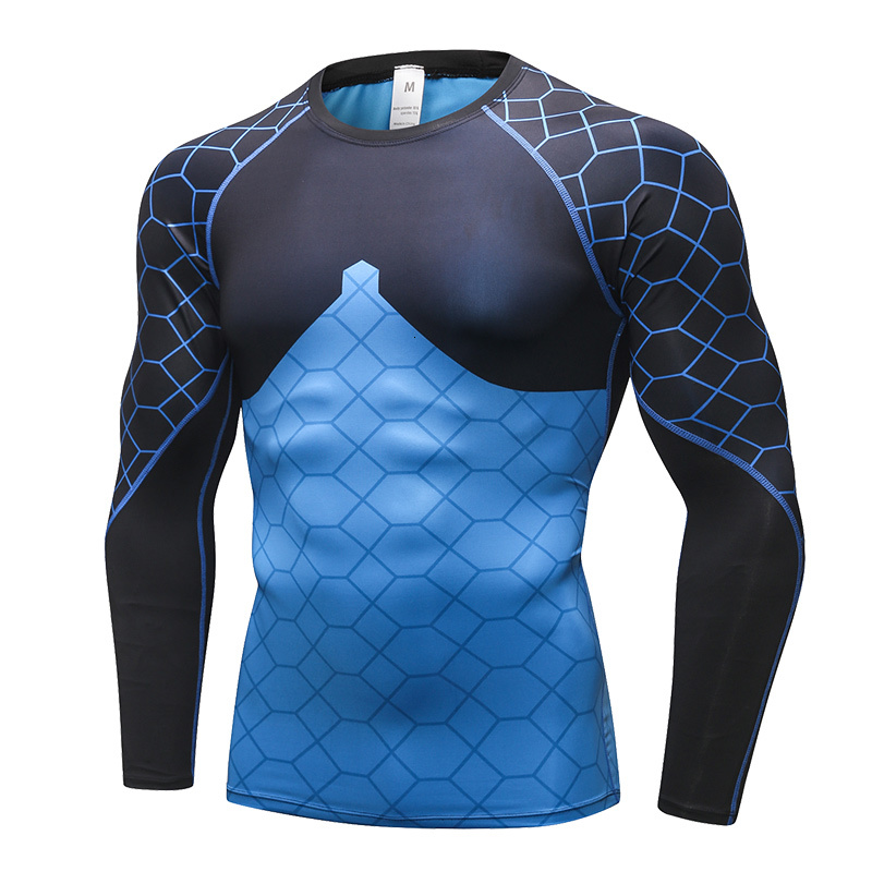 Mens Sports T-shirt Compression Workout Tops Tights Cycling Clothing Gym Tees