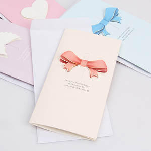 Greeting-Card Pink Wholesale Bow Love Heart Day Valentine's-Day-Mother's